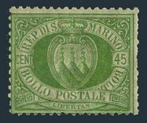 San Marino 19,hinged.Michel 18. Coat of Arms,1892.