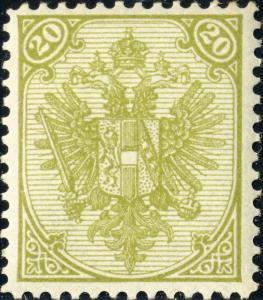 BOSNIE / BOSNIA / BOSNIEN - 1895 - Mi8.II (typo.) 20Kr olive p.12-1/2 - Mint*