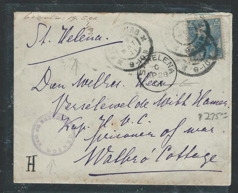 ST HELENA (P0406B) BOER WAR POW COVER FROM NETHERLANDS 1901 TO ST HELENA NICE