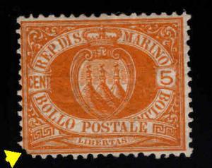 San Marino Scott 4 MH* 19th century mint stamp CV$190 clipped corner