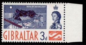GIBRALTAR QEII SG164, 3d deep blue & red-orange, NH MINT.
