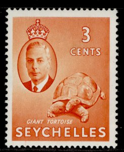 SEYCHELLES QEII SG159, 3c orange, LH MINT.