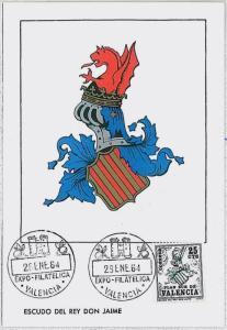 37206  MAXIMUM CARD - SPAIN : Coat of Arms - Heraldry -  Oranges - VALENCIA 1964