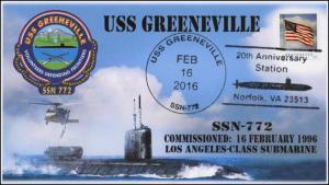 2016, USS Greenville, Naval, Submarine, 20th Anniv, SSN-772, 16-069