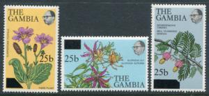 Gambia 390a-c, MNH, Flowers Plants Overprint. x2120