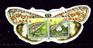 Pitcairn is 651a MNH 2007 Moths S/S