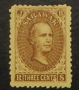 Sarawak 1. 1869 3c Sir James Brooke, without gum