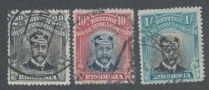 RHODESIA 1913 KGV ADMIRAL 2D 10D AND 1/- DIE II PERF 15