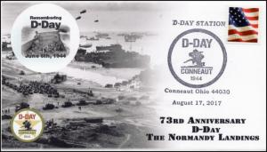 17-288, 2017, D-Day, Normandy Landing , Event Cover, Pictorial Cancel,
