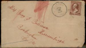 Virginia Embrey 1885 VA Cancel DPO Helbock R7 Cover Harrisburgh R7 Also 92303