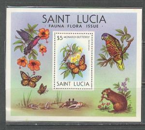 SAINT LUCIA Sc# 542 MNH FVF SS Birds Butterfly Flowers