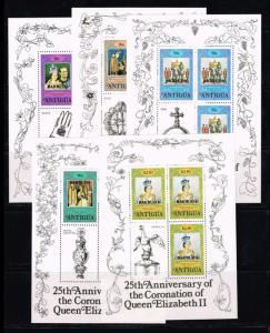 Barbuda #349-353 QEII Coronation Minisheets; MNH