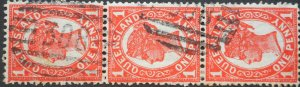 Queensland 1897 One Penny strip of three with Barred 308 postmark