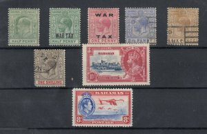 Bahamas KEVII/KGVI Collection Of 8 To 1/- SG71 MH/VFU J6775