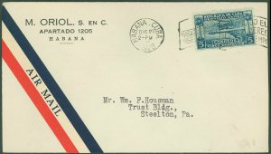 DEC 27 1928 HABANA Cds, Red/Blue Air Mail Label Attached, C/C, To STEELTON, PA!