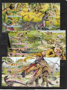 TCHAD CHAD 3 SHEETS IMPERF DINOSAURS PREHISTORIC MAN FOSSILS