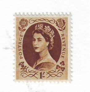 Great Britain Sc 331 1955 1/ brown QE II stamp mint