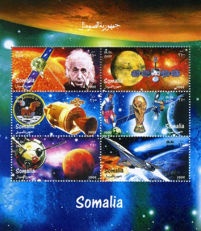 Somalia 1999 Space Einstein Halley's Comet Sheet Perforated mnh.vf