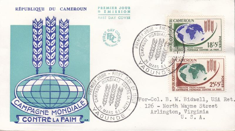 United Nations Food & Agricultural Organization 1963. Cameroun World  Hunger FDC