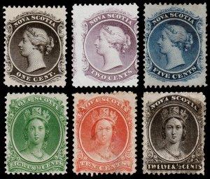 Nova Scotia Scott 8-13 (1860-63) Mint/Used H G-F-VF, CV $519.50 B