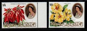 Niue Sc 332-33 1981 QE II & Flower stamp mint NH