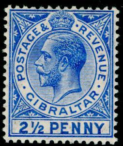 GIBRALTAR SG79a, 2½d deep brt blue, NH MINT. Cat £300.