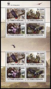 Sao Tome Birds WWF Grey Parrot Sheetlet of 2 sets MI#3777-3780 SALE BELOW FACE