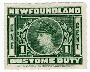 (I.B) Canada Revenue : Newfoundland Customs Duty 1c
