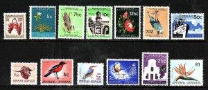 South Africa-Sc#254-66 id5-unused NH set-Birds-Flowers-Trees-1961-