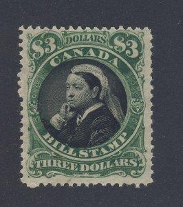 Canada Revenue Bill Stamp  #FB54-$3.00 Victoria MH F/VF Guide Value = $75.00