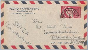 VENEZUELA -  POSTAL HISTORY -  AIRMAIL COVER to SWITZERLAND 1950'S