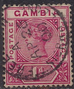 Gambia 1898 - 02 QV 1d Carmine used SG 38 ( J1080 )