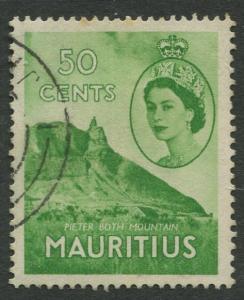 Mauritius - Scott 260 - QEII Definitives -1954 -VFU -Single 50c Stamp