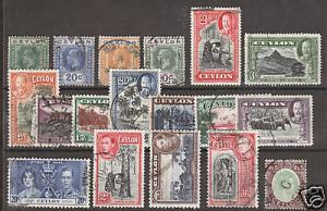 Ceylon Sc 236a/289 used 1921-52 issues, 18 diff singles