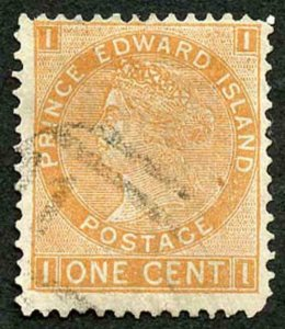 Prince Edward Is  SG44 1872 1c Brown Orange Used Cat 40 pounds