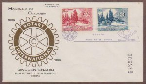 Colombia # 639 & # C274 , Rotary International Anniversary FDC - I Combine S/H