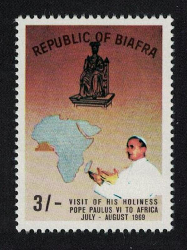 Biafra Visit of Pope Paul VI to Africa 1v 3Sh Brown background RAR SG#42var