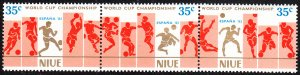 Niue 1981 MNH Sc #344 Strip of 3 35c Soccer players World Cup 82