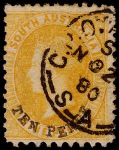 South Australia Scott 50a (1867) Used F, CV $57.50 M