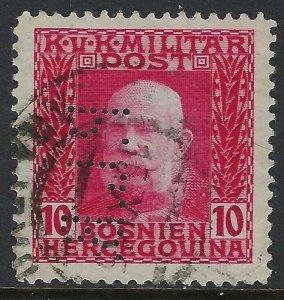 BOSNIA Scott 70, 10 heller, Perfin Pattern A16-PLB: Banque Privilegiee du Pays