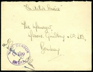 EDW1949SELL : INDIA 1943 Censored cover from Burma to India.