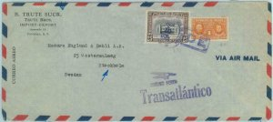 84301 - PANAMA - Airmail COVER to SWEDEN 1948 MEDICINE Nobel Prize FIREFIGHTING