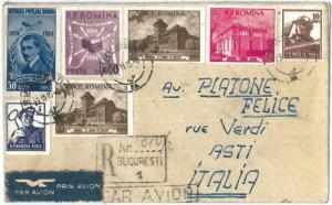 72544 - ROMANIA -   POSTAL HISTORY - Registered Airmail COVER to ITALY 1955