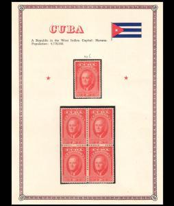 CUBA - 1947 2nd Death Anniv Franklin D. Roosevelt - set of 1V & 1-Blk of 4 - MNH