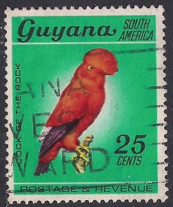 Guyana 1968 QE2 25ct Guianan Cock of the rock Used SG 456 ( F50 )
