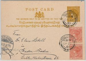 51814 - CEYLON - POSTAL HISTORY - STATIONERY CARD with added stamps to GERMANY