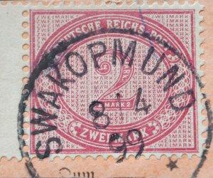 German South West Africa 1899 Two Mark with SWAKOPMUND postmark