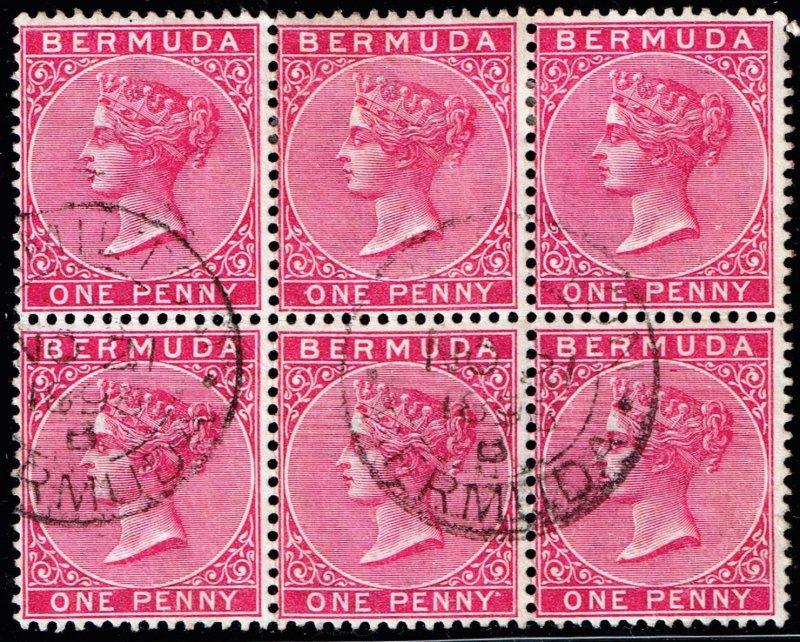 UK STAMP BERMUDA USED BLK OF 6 STAMPS  Queen Victoria 1P