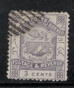 North Borneo 1887 Coat of Arms 3c Scott # 38 Used