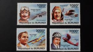 Burundi 2011. - Aviators / planes ** MNH complete set (perforated)